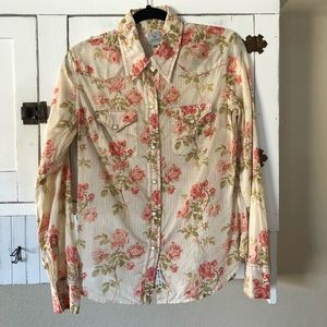 Lucky Brand Pearl Snap Button Rose Floral Top L